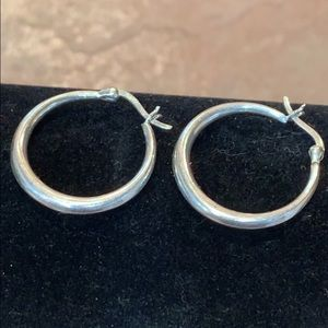 Jewelry - Sterling silver 925 nice quality one inch hoops